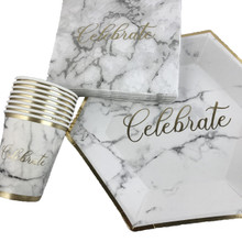 Celebrate Marble Effect Party Tableware Pack Special Occasion Cups Napkins Plates