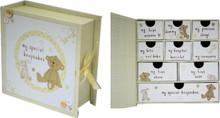 Button Corner Paperwrap Book Baby Keepsake Box With Drawers