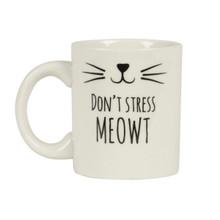 """Sass & Belle Cat's Whiskers """"Don't Stress Meowt"""" Mug"""