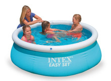 """The Easy Set Pool is the perfect and convenient product to have fun on the bright sunny days.  The Easy Set Pool is the perfect starter pool. Quick and super-easy to set-up and the right size for your younger kids.  The Easy Set Pool Water capacity: 886 Litres  Easy Set Pool dimensions: 183 cm x 51 cm  The Easy Set Pool builds itself as it fills and comes with a drain plug for easy emptying for customer convenience.  The Easy Set Pool is a robust and strong alternative, because the sidewalls are made with 3 separate layers of material for extra strength and durability.  The Easy Set Pool is suitable for ages +3  Box Contains 6' x 20"""" Pool liner Strainer Hole Plug Drain Connector Drain Valve Cap"""