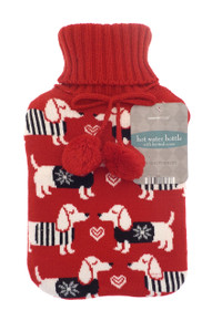 Hot Water Bottles with Knitted Cover-  Red Puppy