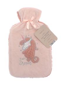 Hot Water Bottle with Soft Plush Sherpa- Unicorn Dream