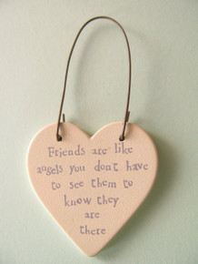 """East of India """"Friends are like angels you don't have to see them to know they are there"""" Wooden Heart Gift tag"""