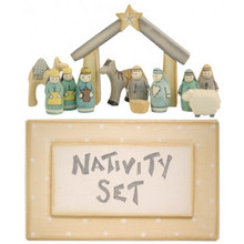 Nativity Set  A beautiful little nativity set complete with own box contains 12 hand carved and hand painted elements.   Each little figure measures no more than 4cm tall and the box measures 16cm wide, 9cm long and 3cm tall.   Presented in a wooden box, it contains figurines of a donkey, a sheep, a camel, the outline of a stable, three Kings, two shepherds, Mary, Joseph and the baby Jesus in the cradle.  Great Christmas item which can be used year after year