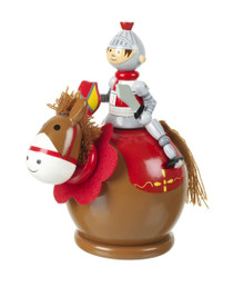 Orange Tree Toys Money box - Knight and Horse design • Handcrafted wooden money box • Makes saving fun for little ones • Non-toxic paint • Dimensions approx 15cm tall x 13 cm wide
