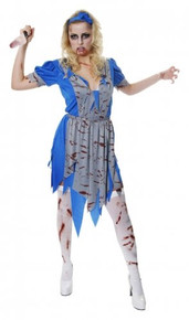 NEW ADULT ALICE IN WONDERLAND HORROR HALLOWEEN COSTUME. Costume includes dress, apron & headband.  There are no size on the costume is classes as one