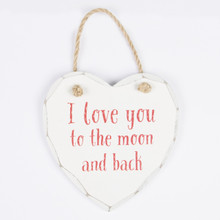 Our most popular plaques now come in special Valentines designs. The fun I Love You To The Moon And Back plaque comes in an elegant ivory white distressed colour and hangs from a rustic coloured twisted rope. A lovely shabby chic decoration to use around the home and the perfect love statement. •Dimension - 14 x 13 x 1 cm •Material - MDF •Colour - Red, White/Cream, Brown/Beige