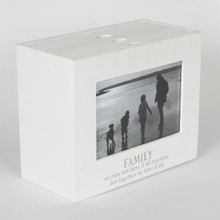 This ingenious design is a photo album with faux drawers, which pull out to reveal felxible photograph wallets. It is made out of wood and is in simple white with a grey message. The message on the bottom edge of the frame reads 'Family' in capital letters and below; 'we may not have it all together but together we have it all'. A sweet message in line with the trend for products with sayings. •Dimension - 16 x 20 x 10 cm •Material - MDF, Glass •Colour - White/Cream, Grey