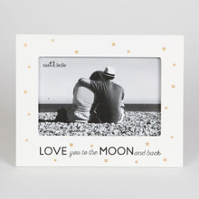 LOVE YOU TO THE MOON AND BACK photo frame. Such a beautiful frame to gift to the special person in your life,  The frame is  gorgeous in black & white colour scheme and lovely gold stars, this photo frame has a contemporary design.  Dimension - 15 x 19 x 1 cm Material - MDF, Glass  Golden Stars & Arrows
