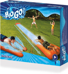 Product Description   H2O Go! Single Slider Water Slide (5.5m)  Are you ready for the ultimate garden water slide?Introducing the H2O-GO Single Slider with the SPEED RAMP by Bestway.  This 18ft (5.49m) long water slide lets you glide for longer as you race to a wet drench pool finish!There is a speed ramp at the first part of the slide which you can fill with water, to provide sliders with a soft landing. You can also connect a hose to the water slide, creating an awesome spray all the way down the slide, keeping it wet, smooth and fun!The H2O-GO Double Slider is easy to set up in 3 simple steps:1. Clear your set-up area of any debris.2. Fill the Speed Ramp™ with water to anchor and inflate. 3. Connect your garden hose to activate the water spray and H20 GO!  Not for adult use. Not for children over 12 or under 5 years of age.   This product is not for use by anyone over 150cm (5ft) or 50kgs (110Ibs).Product Specification:5.49m (18') in length Contents: One water slider, repair patch Full colour box Not for adult use Not for children over 12 or under 5 years of age   This product is not for use by anyone over 150cm (5ft) or 50kgs (110Ibs)  Safety Warning  not appropriate for children under the age of 12