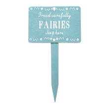 This whimsical wooden sign reads 'Tread carefully fairies sleep here'.  Make your garden your own with this lovely garden plaque. •Dimension - 18 x 10 cm •Material - Wood •Colour - Blue