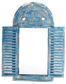 Esschert Design, Blue, Mirror Louvre distressed blue,  WD13, Wood and glass, 39x5x55, Ideal Decoration, Outdoor, Terrace, Building, Wall, Garden Building Decor, Package Length 39.00, Package Width 5.00, Package Height 55.00