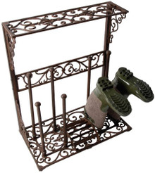 Boot Rack will look good gracing any porch or hallway and at the same time provide convenient storage for wet wellington boots, shoes, walking sticks and umbrellas. It will accommodate 4 pairs of boots, allowing them to dry and air and a handy top shelf will take care of the gloves and hats. It is made from decorative cast iron with an antique rust effect finish. The boot rack measures 63.5 cm length by 34 cm width by 76.5 cm height.