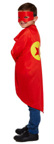 Fancy dress,  red superhero cape with eye mask. One size.