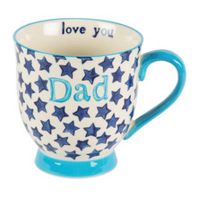 Dimensions - 10.8 x 14 x 0.5 cm •Material - Ceramic •Colour - White/Cream, Blue •Season - 2016AW  Introducing the Bohemian Stars dad mug! The continued popularity of our Bohemian Country Kitchen range have led us to create some personalised mugs. Featuring the signature blue colourway, the design is composed of a scattering of stars and a homemade touch. At Sass & Belle, we believe it's all in the detail and this mugs bear a surprise message - the inside reads 'love you'. A perfect way to spread the love to your old man
