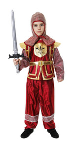 Medieval Knight Boys Red Fancy Dress Costume Age 10-11