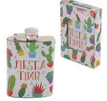 Fiesta Time Cactus Hip Flask Gift