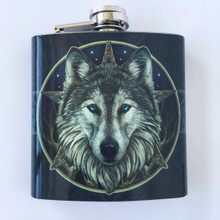 Stainless Steel Wolf Head Hip Flask