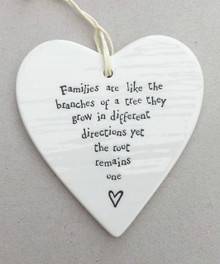 East of India Porcelain Heart - Families are like the branches of a tree...