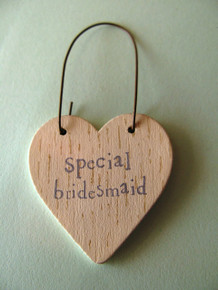 East of India Special Bridesmaid Mini Wooden Heart Tag
