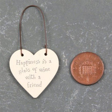 East Of India happiness is a glass of wine with a friend - 3cm Little wooden Heart On Wire