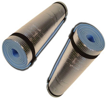 2 x Large Lightweight Soft Durable Foam EVA Roll Mats With Aluminium Thermo Back - Ideal For Camping, Beach, Hiking, Yoga, Gym