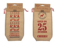 Christmas Corner Canvas Look Wine / Beer Bottle Gift Bag 2 Pack
