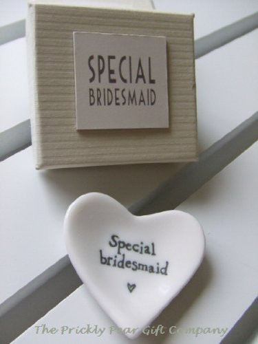 East Of India Special Bridesmaid White Porcelain Heart Dish