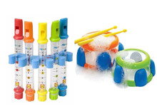 Water Drums + Bath Flute Kids Children's Bath Time Fun Musical Instrument Toy