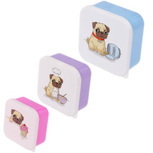 Fun Pug Design Set of 3 Plastic Lunch Boxes