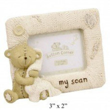 "Teddy Button Corner Resin Photo Frame ""My Scan"" Pregnancy Baby Shower Gift"