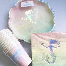Talking Tables Pastel Ombre MERMAID Plates, Cups & Napkins Tableware Pack for 12