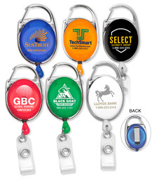 Carabiner Badge Reel with Clip - Pad Printed
