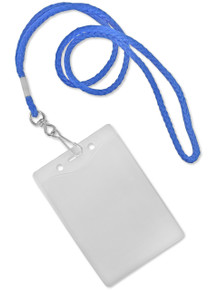 """Round Lanyards with Swivel J-Hook & Vertical Badge Holders 4""""x3"""" Combo Set"""