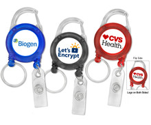 Carabiner Badge Reel with Strap and Split Ring Combo - Full Color Printed