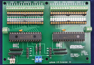 "The IOX32 is an expander which provides an 32 lines of i/o for the cpNode using the MCP23017 chip.  IOX16 lines are configurable in as input or output in 8 bit (1 byte) increments. Up to 128 lines of i/o may be added to a cpNode in any combination of IOX16s and IOX32s.  Input and output voltages are limited to 5V.  Each output may sink up to 25 mA subject to a device limit of 160mA, if all lines are used as output, use 10mA as a design limit.  Since the vast majority of outputs in a model railroad signaling system are for driving LEDS, 10mA should be adequate. If you need to work with higher voltages or currents, use the CSNK adapter in conjunction with the IOX16 (NOT the IOX32).  Pads for inserting limiting resistors are provided for each line (shown here with machined sockets).  Output pads are spaced at 0.100"" to allow you maximum flexibility in configuring outputs.  IOX32 ships with 32 header pins but you can use any 0.100 connector you prefer."