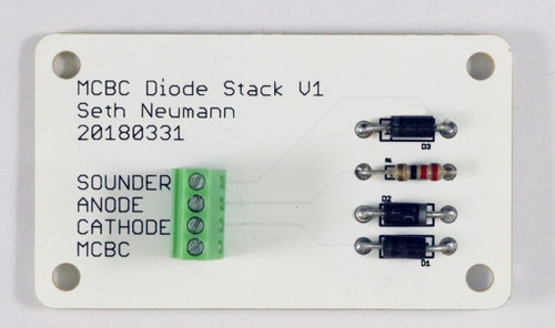LED diode stack adapter.  Provides a simple method to place diode in series with a load up to 0.5A for Morse Code Buzzer Controller