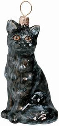 American Short Hair Black Cat - Joy To The World Ornament