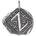 Waxing Poetic Sterling Silver Square Insignia Charm 'Z'