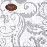 Caspari Silver Filigree Napkins 20 Count