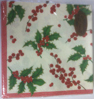 Caspari 'Holly and Berries' Ivory Dinner Napkin