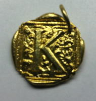 Waxing Poetic Gold Square Insignia Charm 'K'