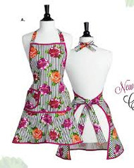 Jessie Steele Jeweled Peony Stripe Carmen Apron