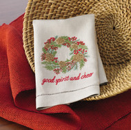 Mudpie Pine & Berry Wreath Linen Towel