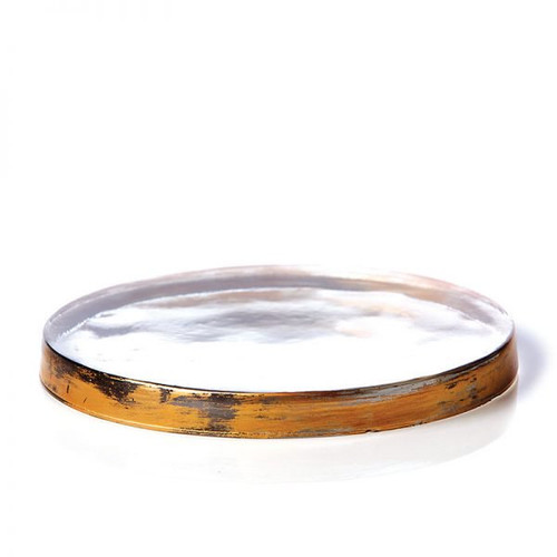 Rosy Rings Gilded Glass Candle Coaster 6″