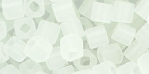 Toho Seed Beads Cubes 4mm Transparent-Frosted Crystal