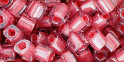 Toho Seed Beads Cube 4mm Transparent-Lustered Rose/Mauve Lined
