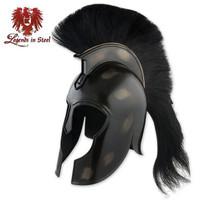 Black Coated Corinthian Trojan Helmet with Horse Hair Crest