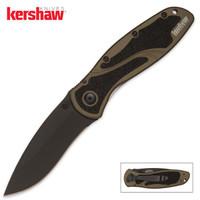 Kershaw Blur Assisted Opening Pocket Knife Olive Black Blade