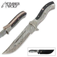 Timber Wolf Damascus Steel Fixed Blade Buffalo Horn Bowie Knife